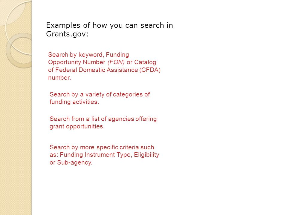 Search by keyword, Funding Opportunity Number (FON) or Catalog of Federal Domestic Assistance (CFDA) number.