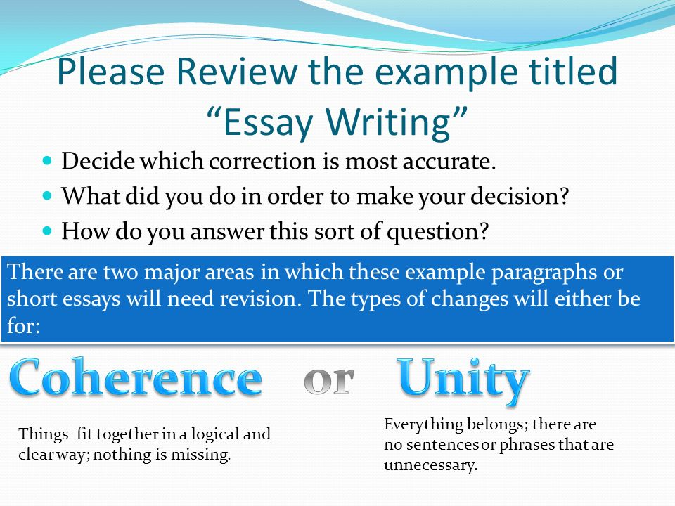 Unity in the essay please help?