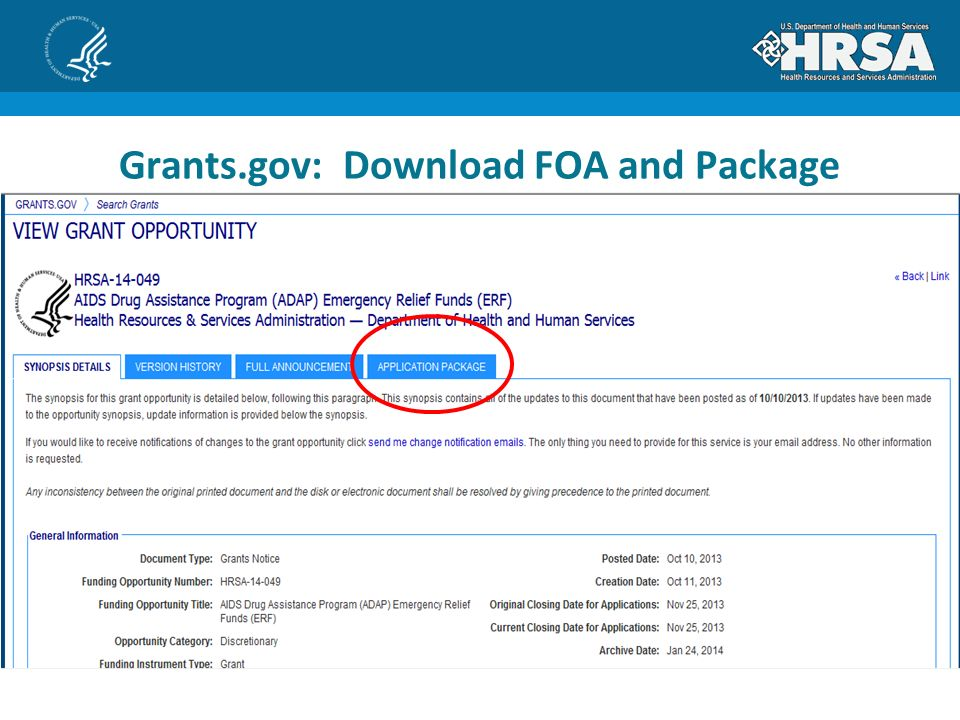 Grants.gov: Download FOA and Package