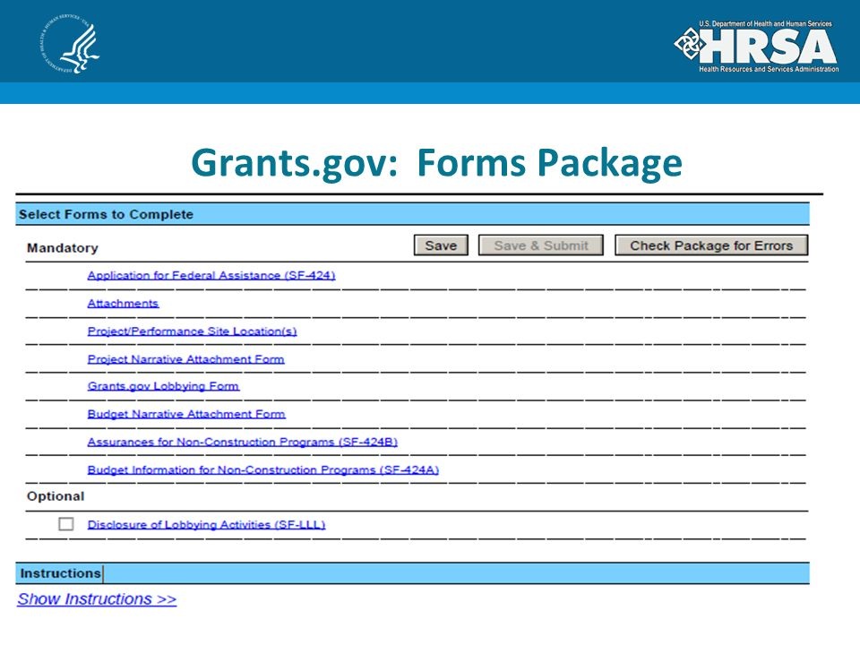 Grants.gov: Forms Package
