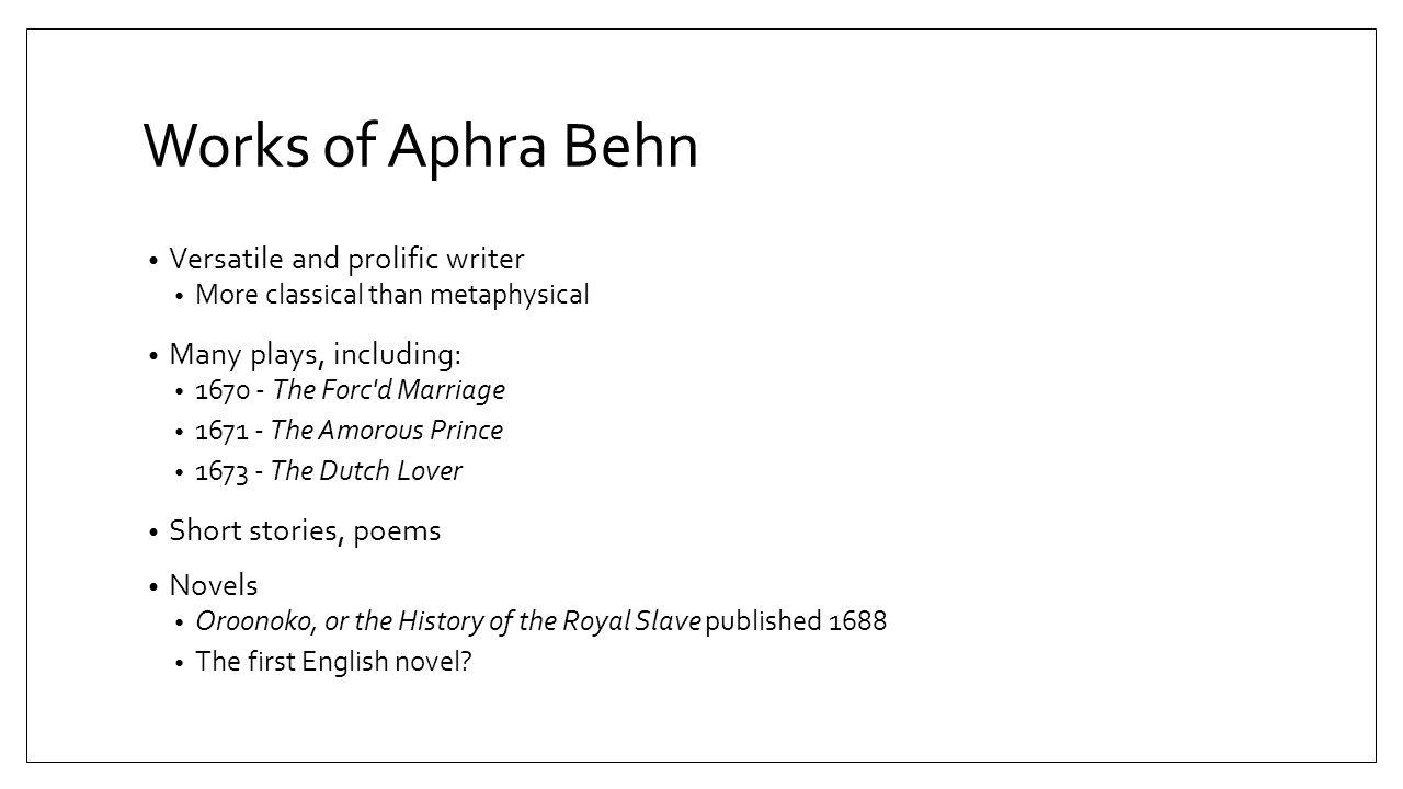 aphra behn works
