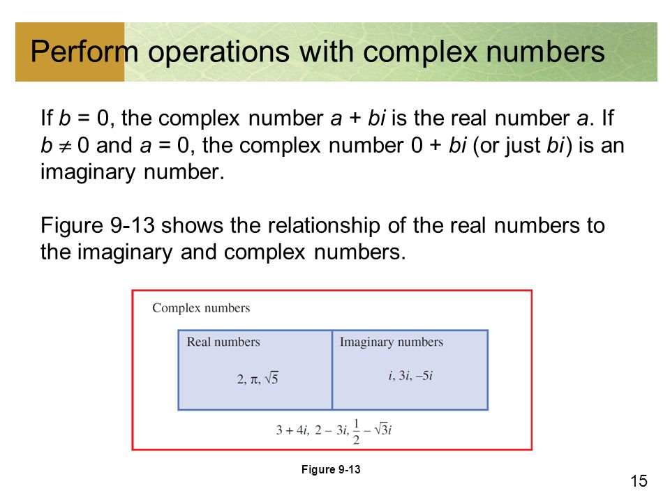 15 Perform operations with complex numbers If b = 0, the complex number a + bi is the real number a.