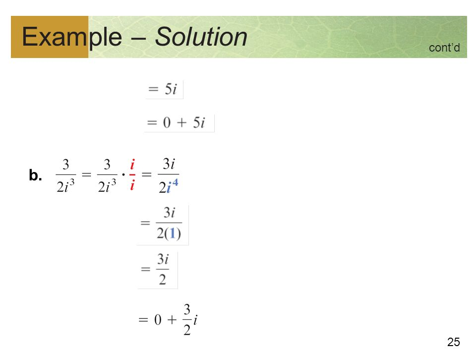 25 Example – Solution b. cont'd
