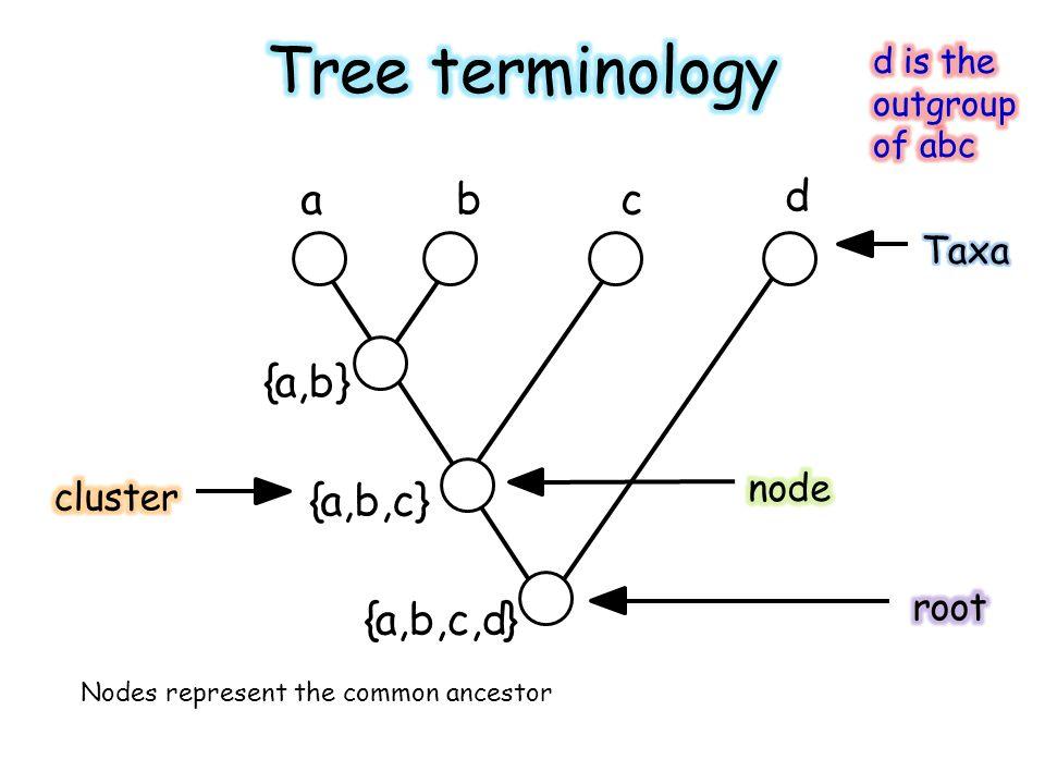 abc d {a,b} {a,b,c} {a,b,c,d} Nodes represent the common ancestor