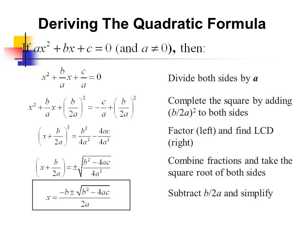 Deriving The Quadratic Equation - Jennarocca