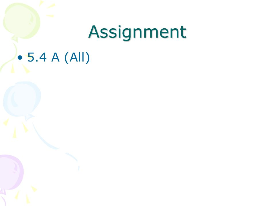 Assignment 5.4 A (All)