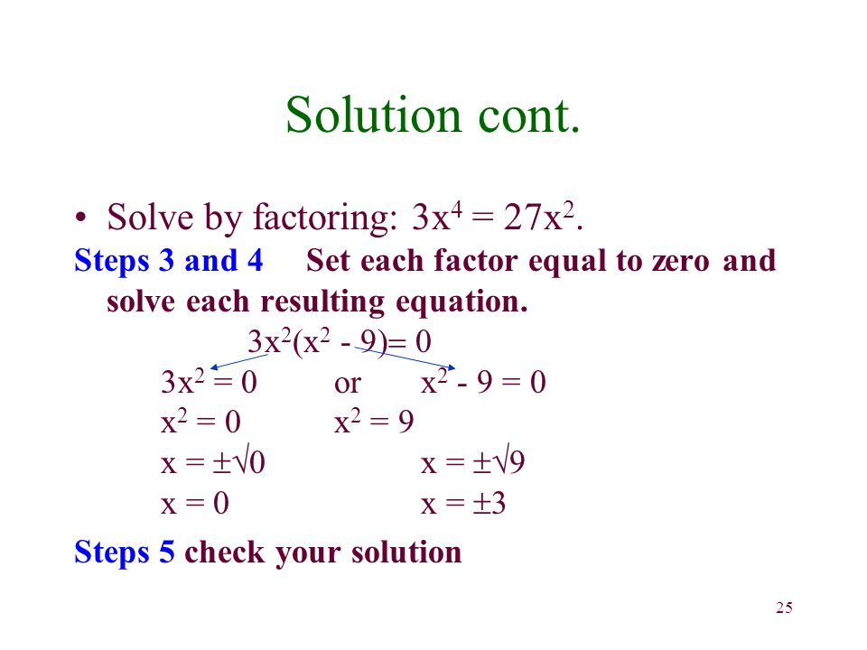 25 Solution cont. Solve by factoring: 3x 4 = 27x 2.