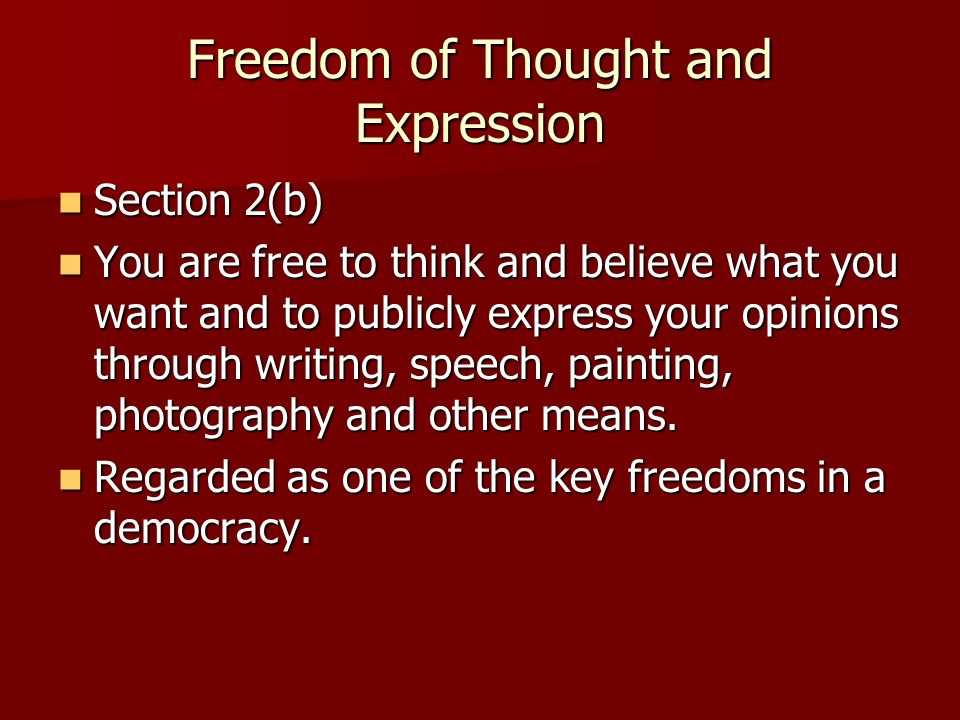 Freedom of Thought and Expression Section 2(b) Section 2(b) You are free to think and believe what you want and to publicly express your opinions through writing, speech, painting, photography and other means.