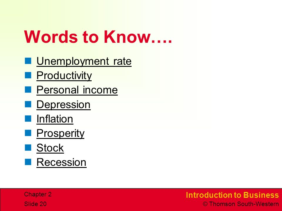 Introduction to Business © Thomson South-Western Chapter 2 Slide 20 Words to Know….