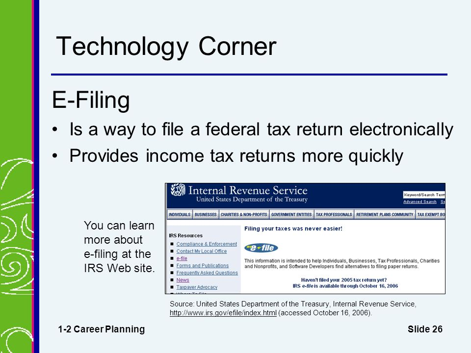 Slide 26 Technology Corner E-Filing Is a way to file a federal tax return electronically Provides income tax returns more quickly 1-2 Career Planning Source: United States Department of the Treasury, Internal Revenue Service,   (accessed October 16, 2006).