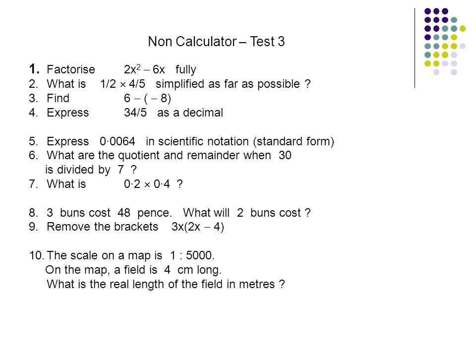 Non Calculator Tests Third Year Non Calculator Tests Click On A