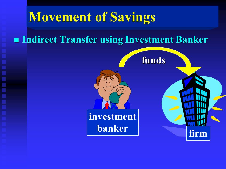 Movement of Savings n Indirect Transfer using Investment Banker funds investment banker firm
