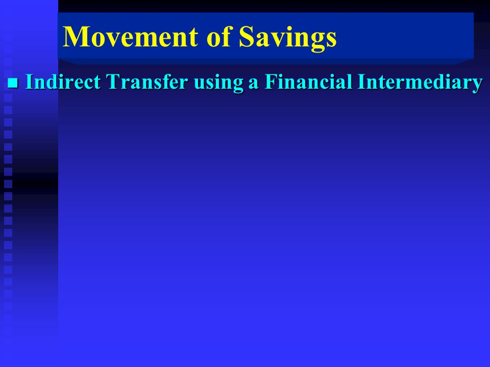 Movement of Savings n Indirect Transfer using a Financial Intermediary