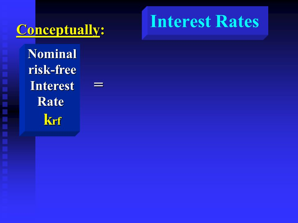 Interest Rates Conceptually: Nominalrisk-freeInterestRate k rf =