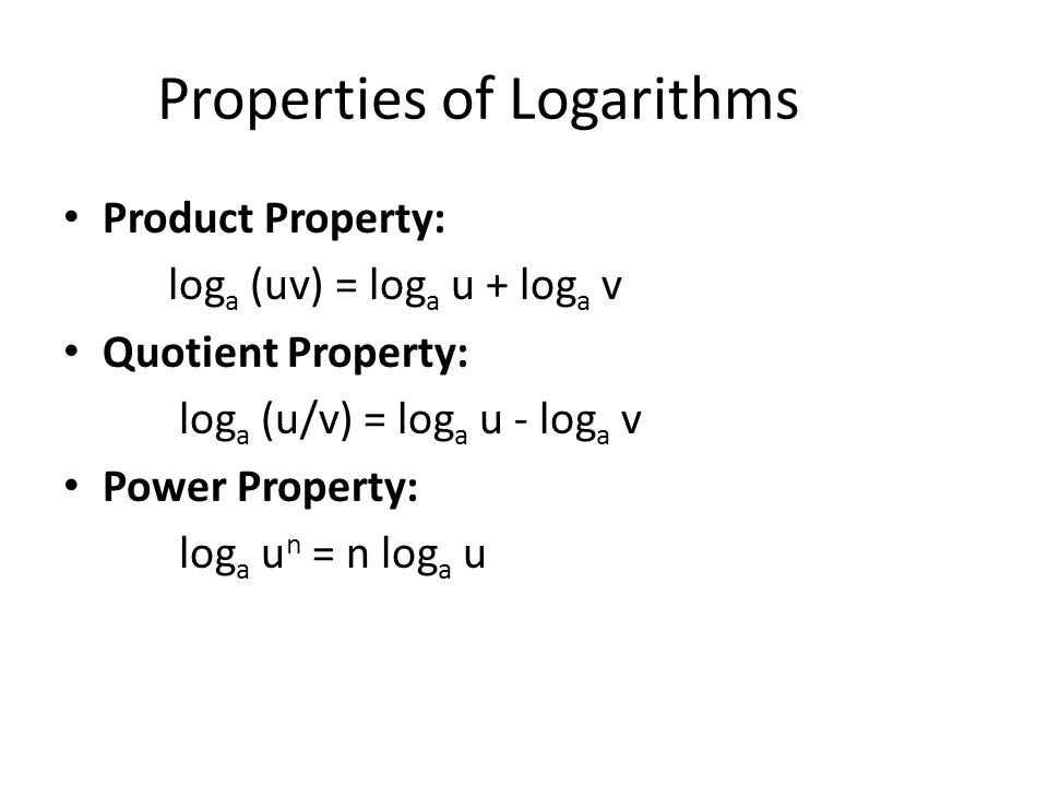 8 4 properties of logarithms use the change of base formula to 2 properties of logarithms product property log a uv log a u log a v quotient property log a uv log a u log a v power property log a u n n publicscrutiny Image collections