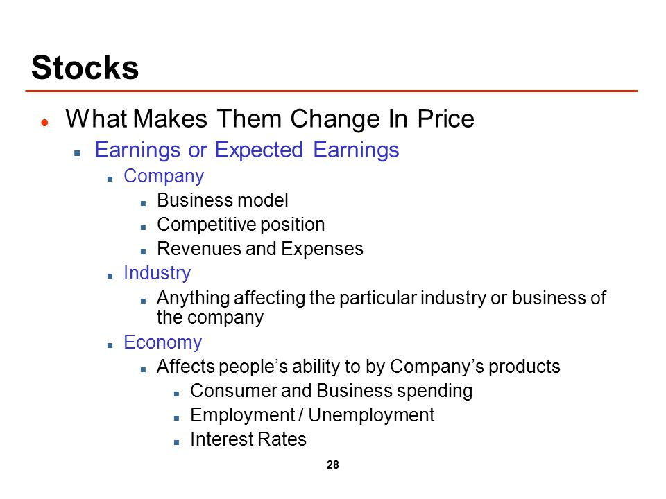 28 Stocks What Makes Them Change In Price Earnings or Expected Earnings Company Business model Competitive position Revenues and Expenses Industry Anything affecting the particular industry or business of the company Economy Affects people's ability to by Company's products Consumer and Business spending Employment / Unemployment Interest Rates