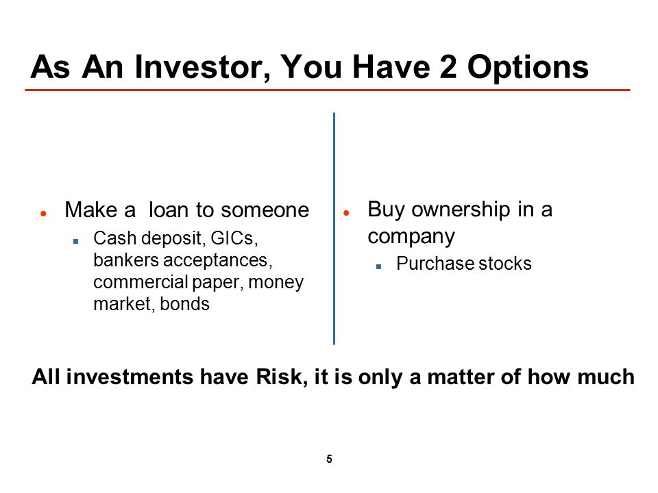 5 As An Investor, You Have 2 Options Make a loan to someone Cash deposit, GICs, bankers acceptances, commercial paper, money market, bonds Buy ownership in a company Purchase stocks All investments have Risk, it is only a matter of how much