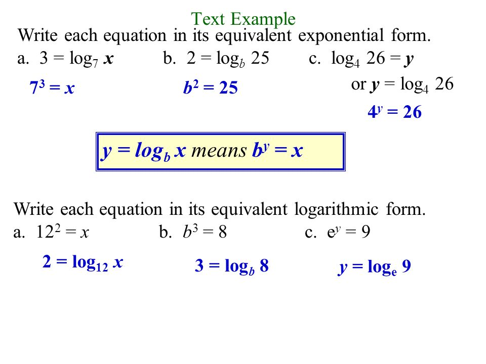 Definition of a Logarithmic Function For x > 0 and b > 0, b≠ 1, y ...