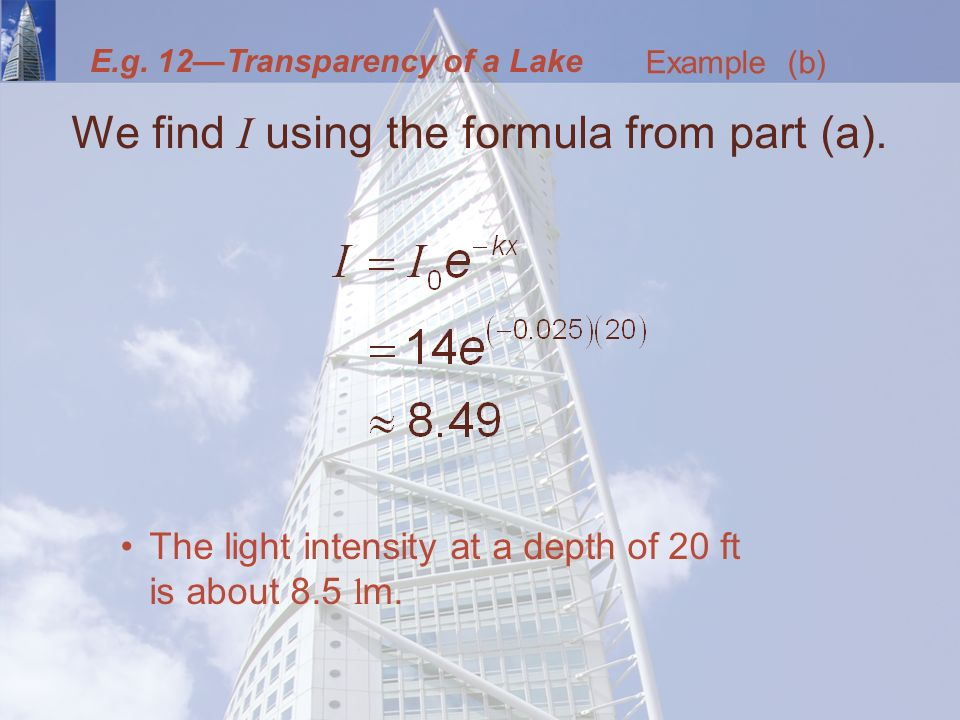We find I using the formula from part (a).