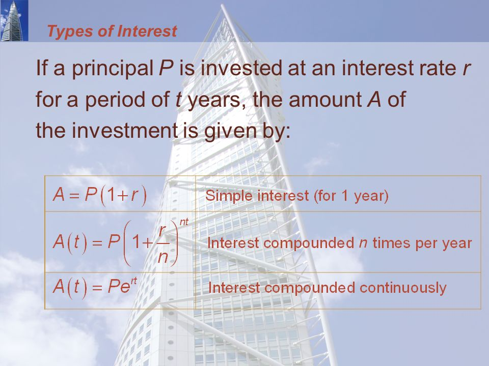 Types of Interest If a principal P is invested at an interest rate r for a period of t years, the amount A of the investment is given by: