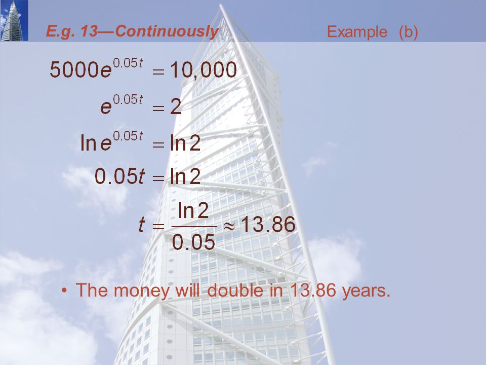 E.g. 13—Continuously The money will double in years. Example (b)