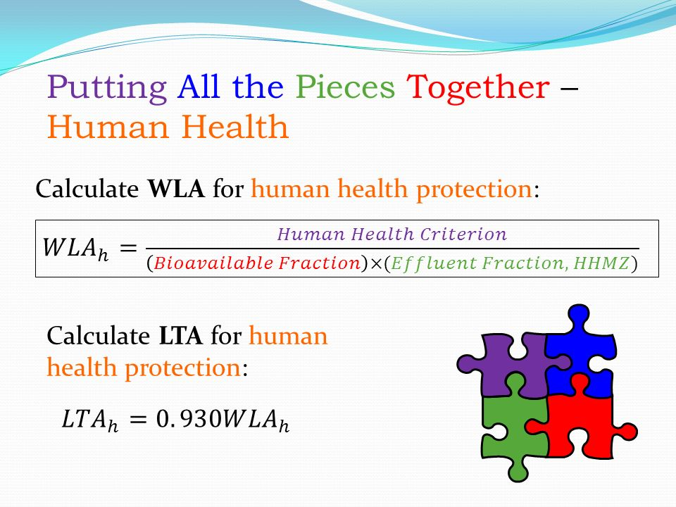 Putting All the Pieces Together – Human Health Calculate WLA for human health protection: Calculate LTA for human health protection: Putting All the Pieces Together – Human Health