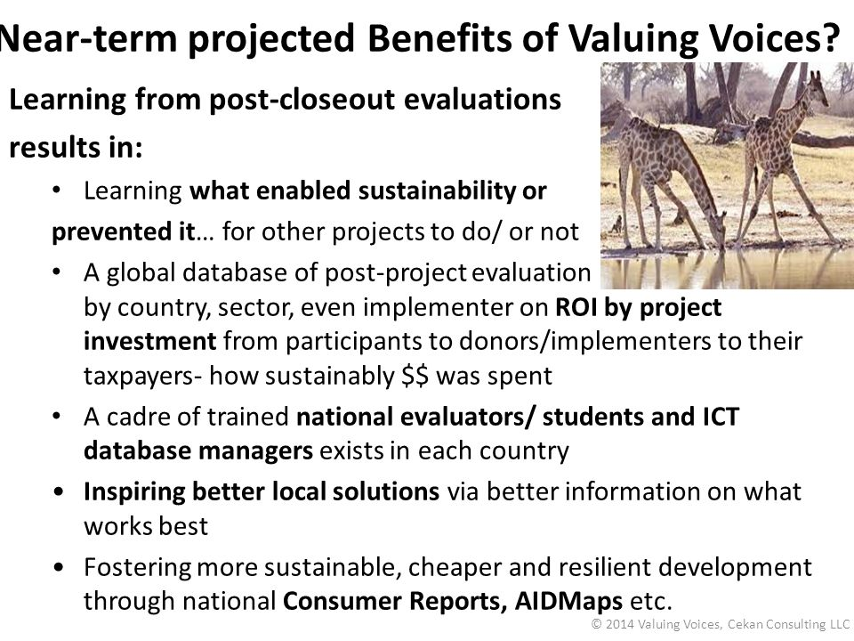 Near-term projected Benefits of Valuing Voices.