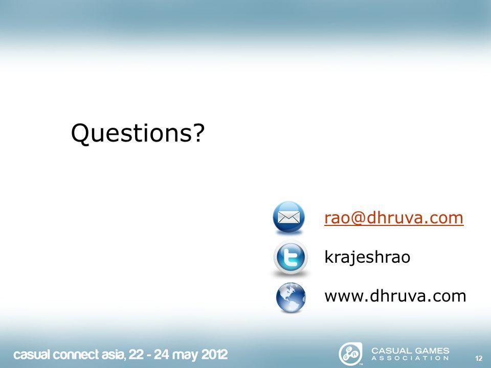 12 Questions rao@dhruva.com krajeshrao www.dhruva.com