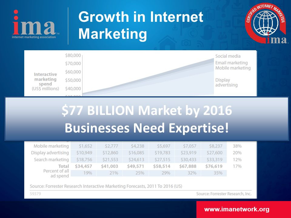Growth in Internet Marketing $77 BILLION Market by 2016 Businesses Need Expertise.