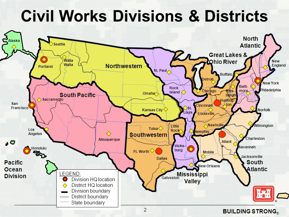 building strong 2 civil works divisions districts pacific ocean division southwestern south atlantic south