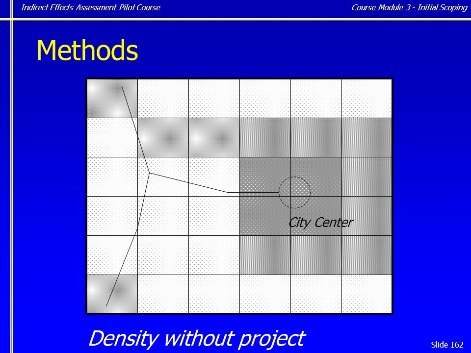 Indirect Effects Assessment Pilot Course Slide 162 Density without project Course Module 3 - Initial Scoping City Center Methods