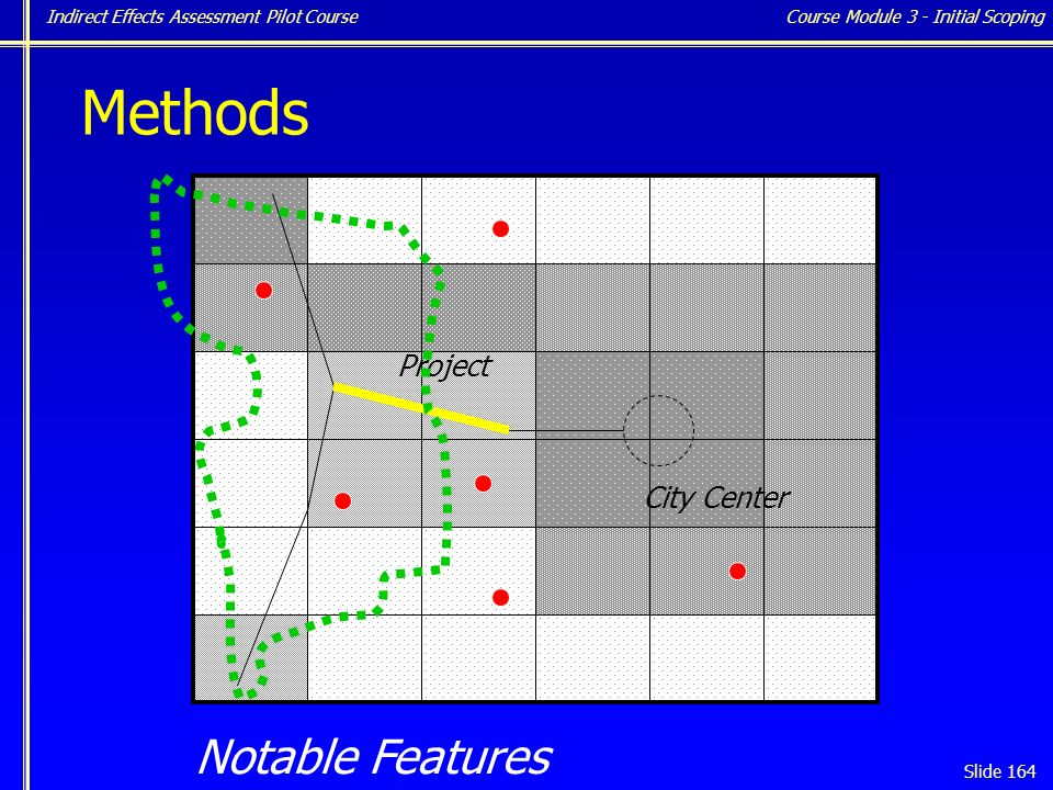 Indirect Effects Assessment Pilot Course Slide 164 Notable Features Course Module 3 - Initial Scoping City Center Project Methods