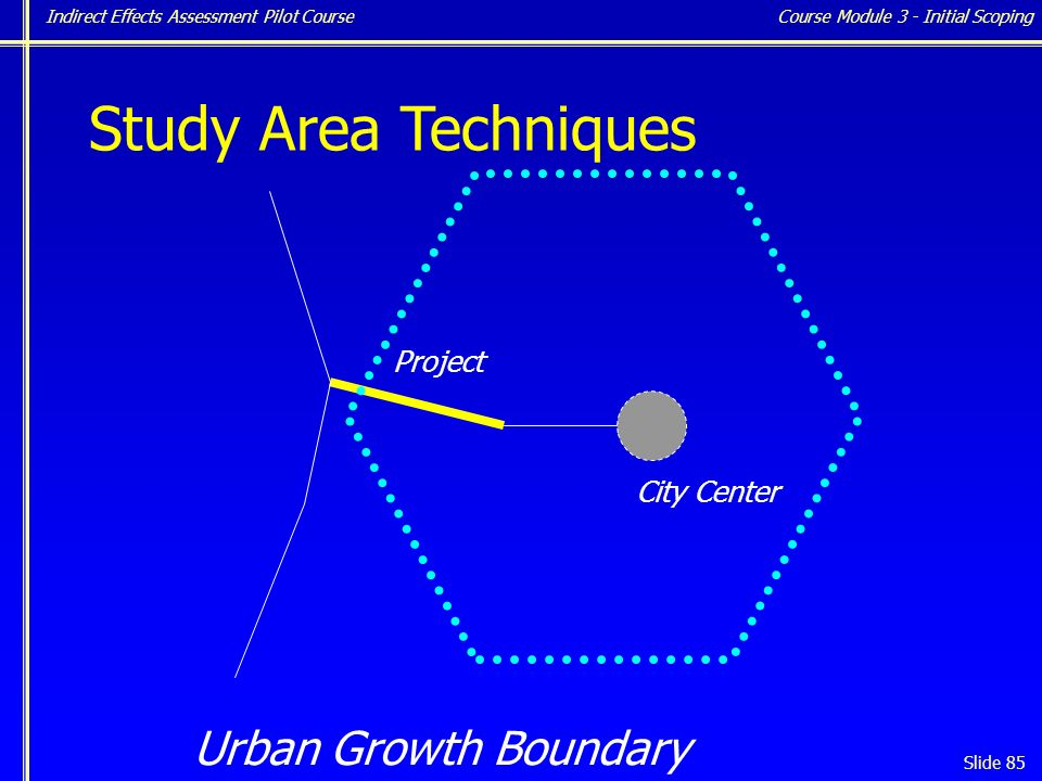 Indirect Effects Assessment Pilot Course Slide 85 Study Area Techniques Urban Growth Boundary Project City Center Course Module 3 - Initial Scoping