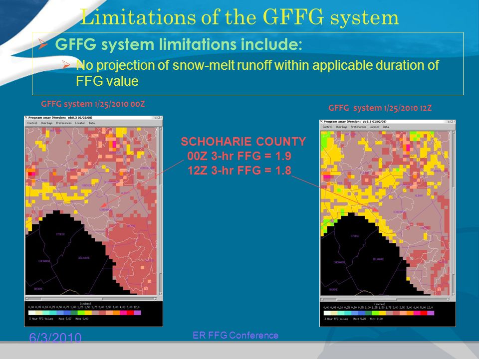 6/3/2010 ER FFG Conference Limitations of the GFFG system  GFFG system limitations include:  No projection of snow-melt runoff within applicable duration of FFG value GFFG system 1/25/ Z GFFG system 1/25/ Z SCHOHARIE COUNTY 00Z 3-hr FFG = Z 3-hr FFG = 1.8
