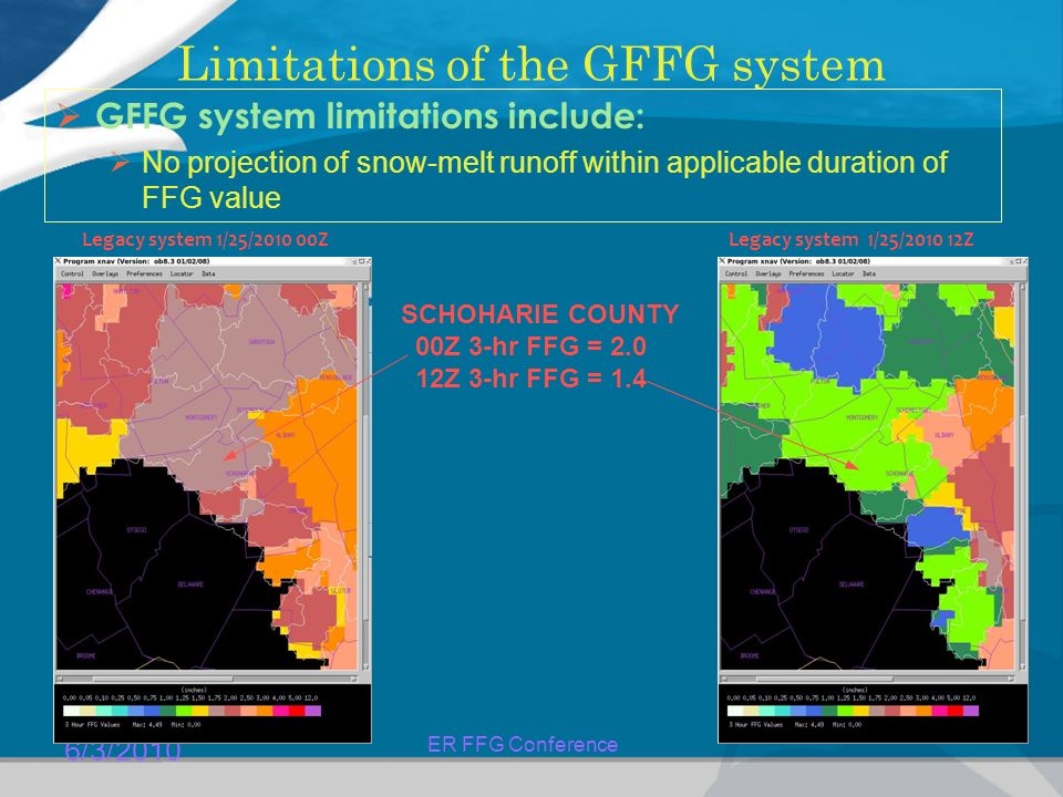 6/3/2010 ER FFG Conference Limitations of the GFFG system  GFFG system limitations include:  No projection of snow-melt runoff within applicable duration of FFG value Legacy system 1/25/ ZLegacy system 1/25/ Z SCHOHARIE COUNTY 00Z 3-hr FFG = Z 3-hr FFG = 1.4