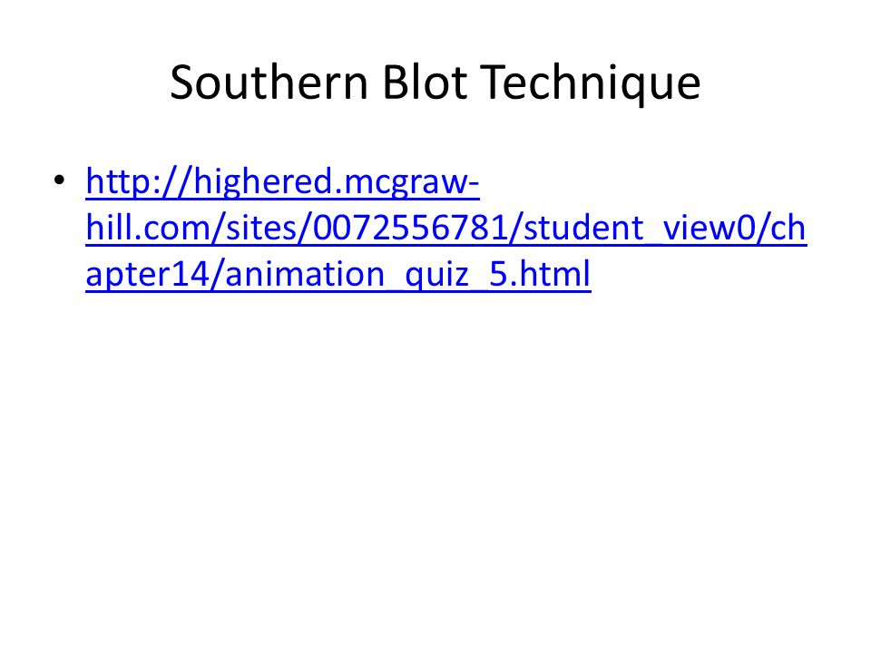 Southern Blot Technique   hill.com/sites/ /student_view0/ch apter14/animation_quiz_5.html   hill.com/sites/ /student_view0/ch apter14/animation_quiz_5.html