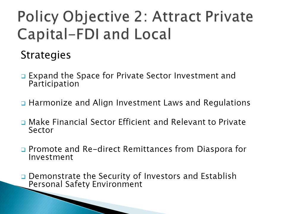 Strategies  Expand the Space for Private Sector Investment and Participation  Harmonize and Align Investment Laws and Regulations  Make Financial Sector Efficient and Relevant to Private Sector  Promote and Re-direct Remittances from Diaspora for Investment  Demonstrate the Security of Investors and Establish Personal Safety Environment