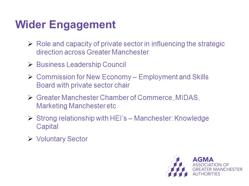 Wider Engagement  Role and capacity of private sector in influencing the strategic direction across Greater Manchester  Business Leadership Council  Commission for New Economy – Employment and Skills Board with private sector chair  Greater Manchester Chamber of Commerce, MIDAS, Marketing Manchester etc  Strong relationship with HEI's – Manchester: Knowledge Capital  Voluntary Sector