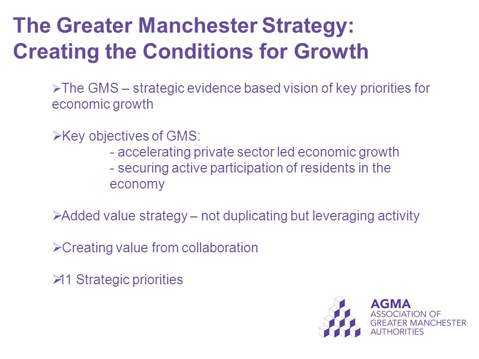 The Greater Manchester Strategy: Creating the Conditions for Growth  The GMS – strategic evidence based vision of key priorities for economic growth  Key objectives of GMS: - accelerating private sector led economic growth - securing active participation of residents in the economy  Added value strategy – not duplicating but leveraging activity  Creating value from collaboration  11 Strategic priorities