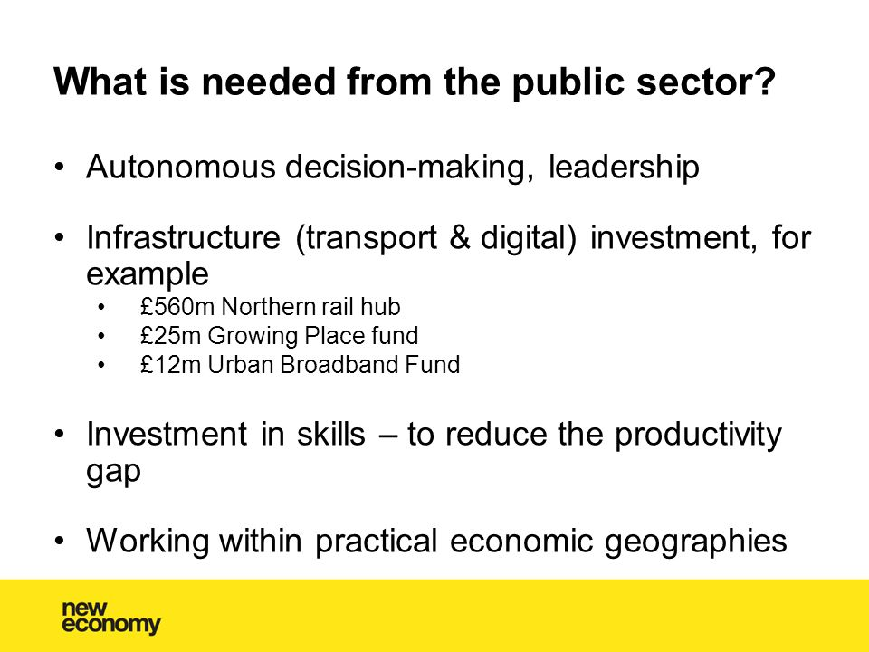What is needed from the public sector.