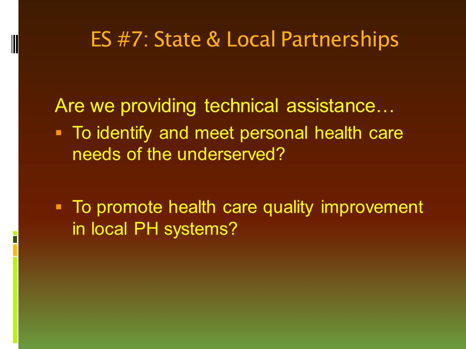 ES #7: State & Local Partnerships Are we providing technical assistance…  To identify and meet personal health care needs of the underserved.