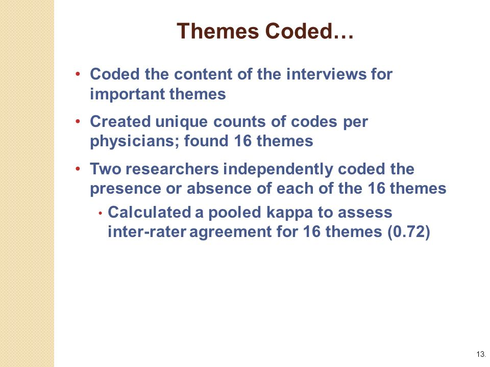 13. Themes Coded…, Coded the content of the interviews for important themes.