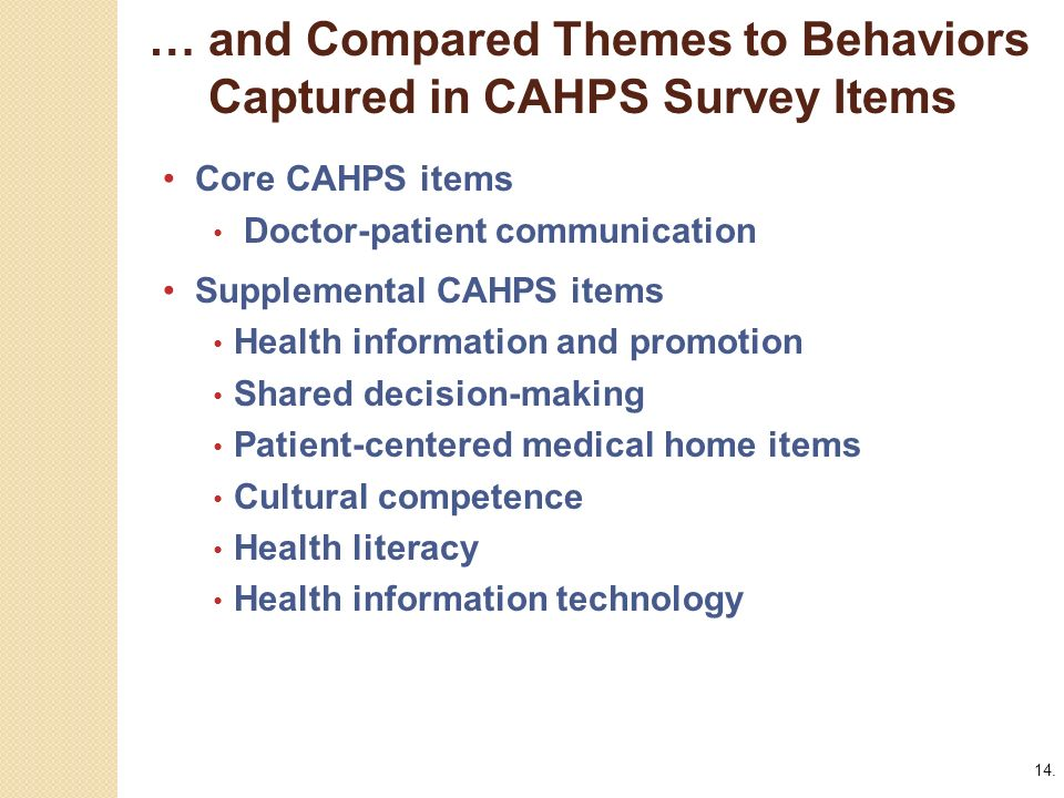 14. … and Compared Themes to Behaviors Captured in CAHPS Survey Items.