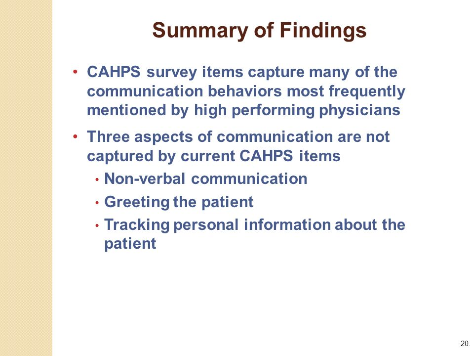 20. Summary of Findings.