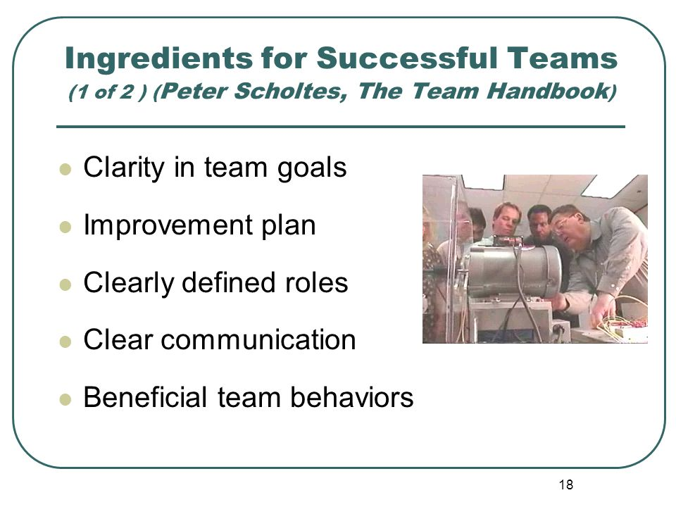 18 Ingredients for Successful Teams (1 of 2 ) ( Peter Scholtes, The Team Handbook ) Clarity in team goals Improvement plan Clearly defined roles Clear