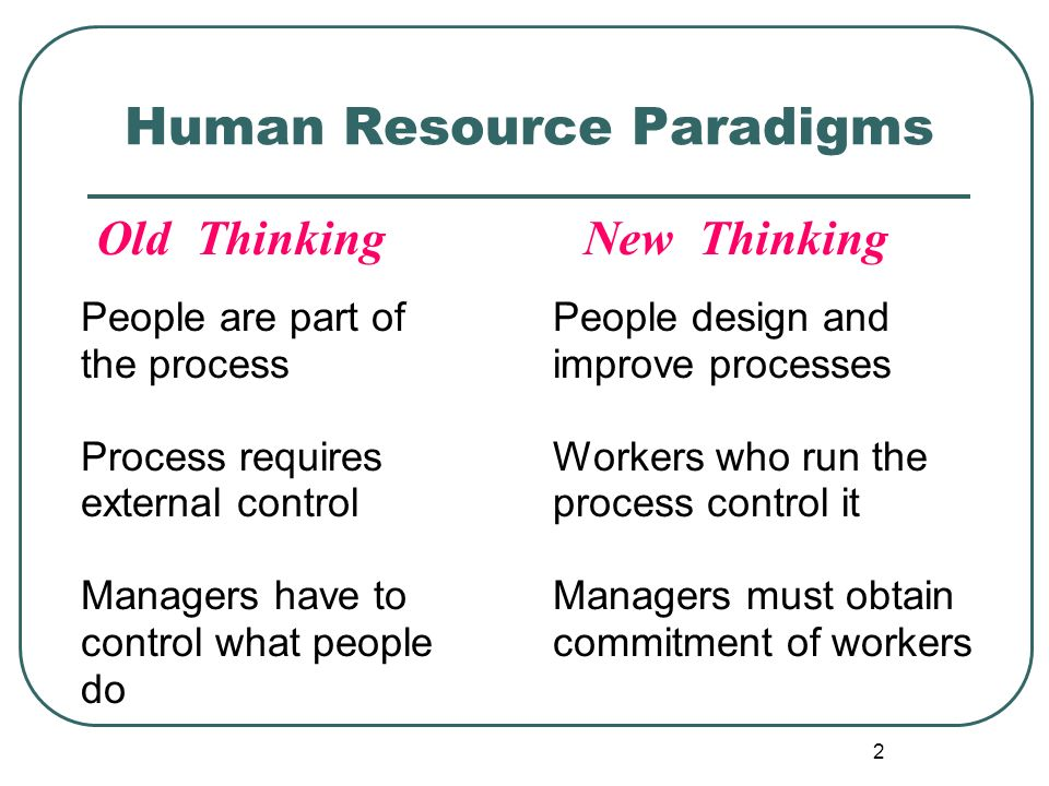 2 Human Resource Paradigms Old Thinking New Thinking People are part of the process Process requires external control Managers have to control what pe