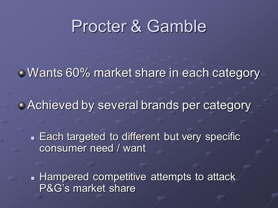 Procter & Gamble Wants 60% market share in each category Achieved by several brands per category Each targeted to different but very specific consumer need / want Each targeted to different but very specific consumer need / want Hampered competitive attempts to attack P&G's market share Hampered competitive attempts to attack P&G's market share