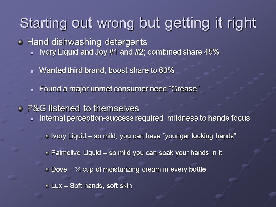 Starting out wrong but getting it right Hand dishwashing detergents Ivory Liquid and Joy #1 and #2; combined share 45% Ivory Liquid and Joy #1 and #2; combined share 45% Wanted third brand; boost share to 60% Wanted third brand; boost share to 60% Found a major unmet consumer need Grease Found a major unmet consumer need Grease P&G listened to themselves Internal perception-success required mildness to hands focus Internal perception-success required mildness to hands focus Ivory Liquid – so mild, you can have younger looking hands Palmolive Liquid – so mild you can soak your hands in it Dove – ¼ cup of moisturizing cream in every bottle Lux – Soft hands, soft skin