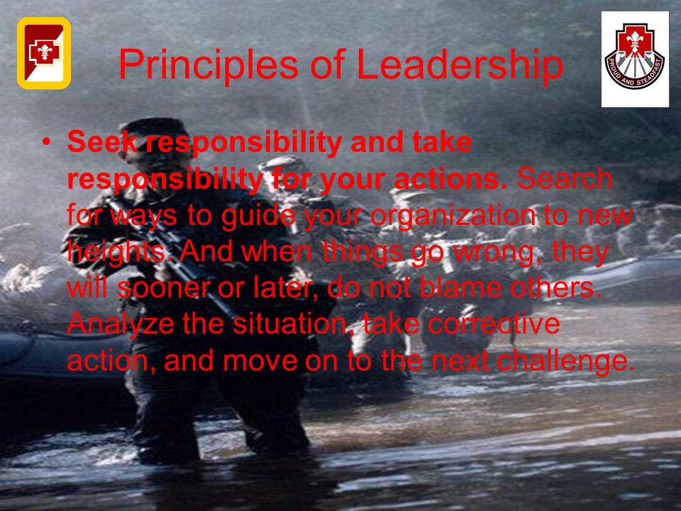 Principles of Leadership Seek responsibility and take responsibility for your actions. Search for ways to guide your organization to new heights. And