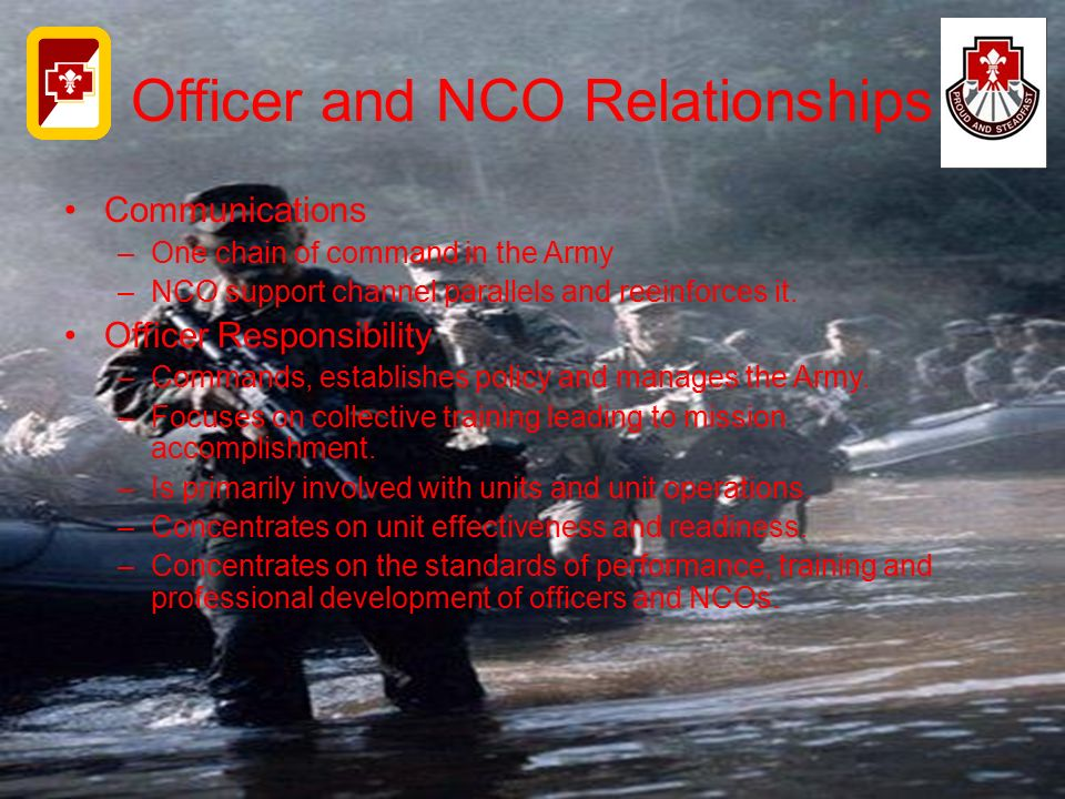 Officer and NCO Relationships Communications –One chain of command in the Army –NCO support channel parallels and reeinforces it. Officer Responsibili